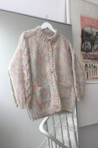 Vintage 90s Cream Knitted Chunky Cable Knit Wool Cardigan