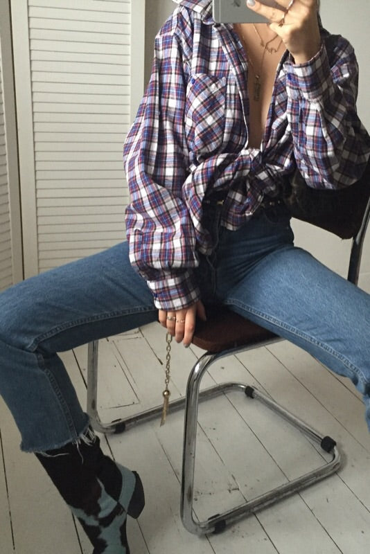 Vintage 90s Blue Checked Farmer Lumberjack Flannel Shirt