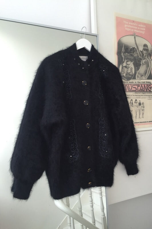 Vintage 80s Black Angora Wool Mix Cardigan
