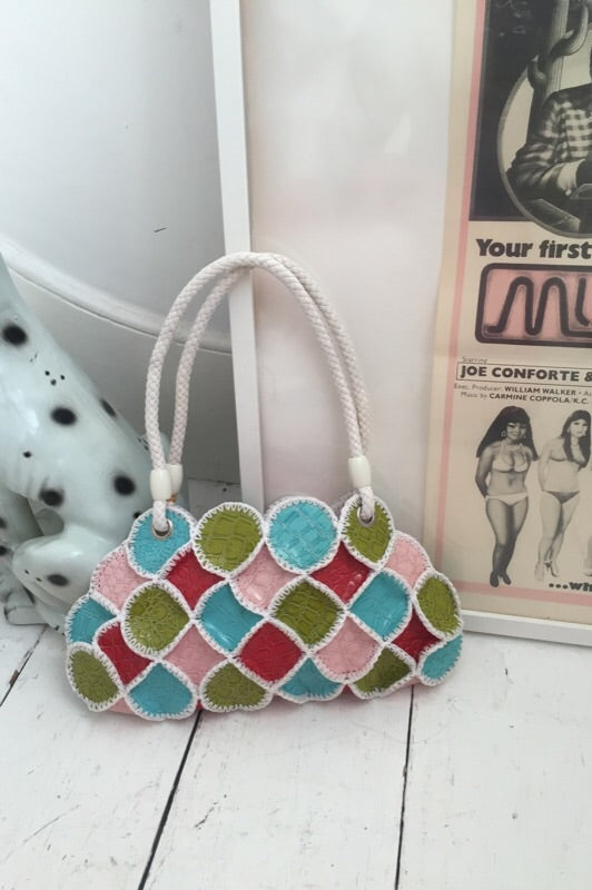 Vintage 1990s Colourful Patchwork Faux Leather Handbag