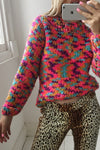 Vintage 90s Multi Coloured Chunky Knit Hand-Knit Jumper