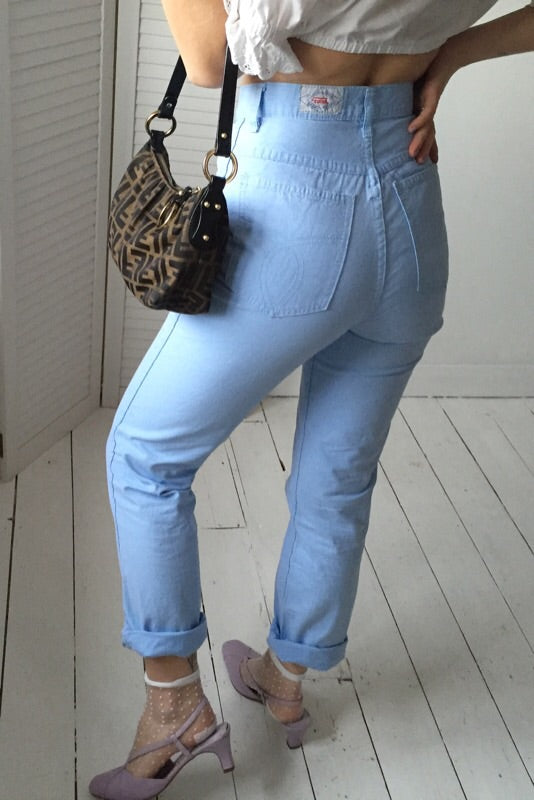 Vintage 90s Highwaisted Baby Blue Mum Jeans Cotton Trousers