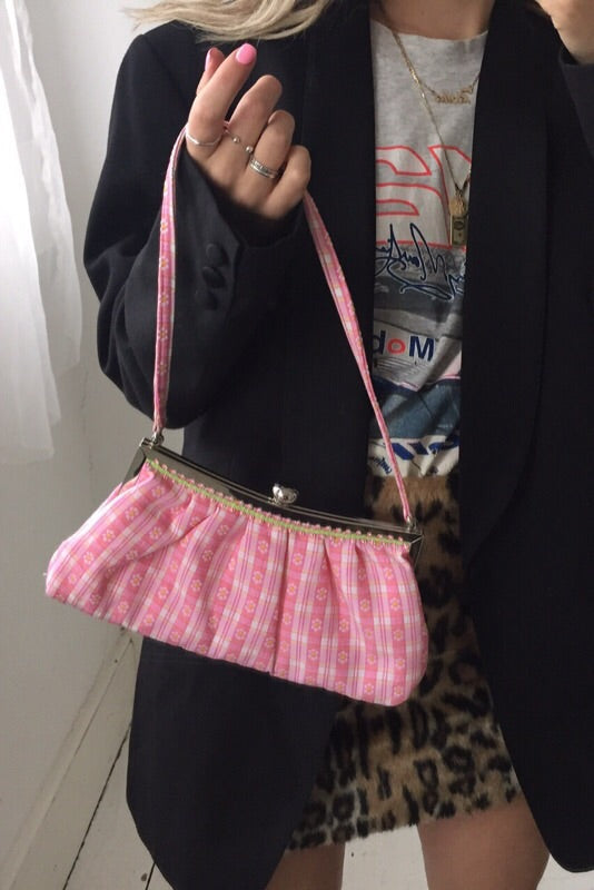 Vintage 90s Baby Pink Daisy Checked Slim Mini Handbag
