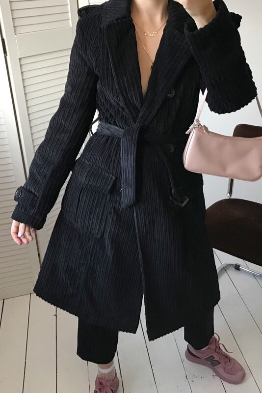 Vintage 90s Y2K Black Velvet Corduroy Long Line Double Breasted Trench Jacket