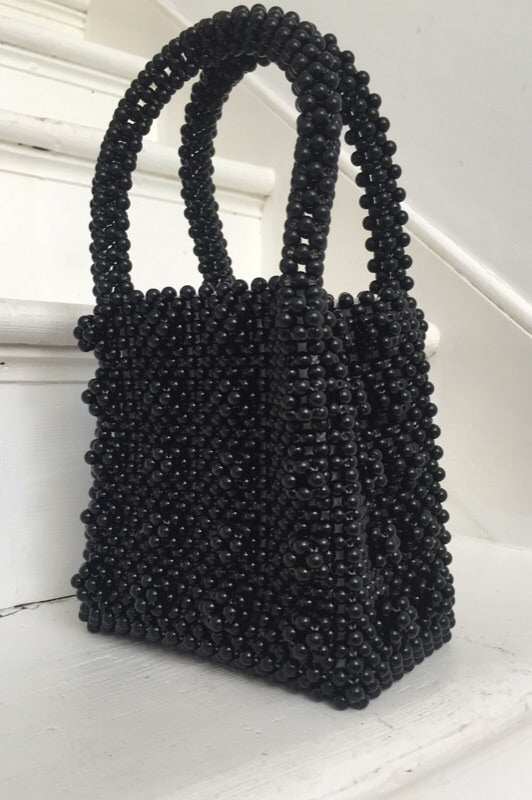 Vintage Black Plastic Beaded Top Handle Handbag