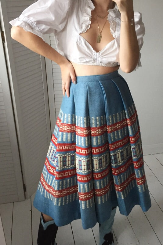 Vintage 90s Blue, Red & White Traditional Pleated Wool Midi Skirt