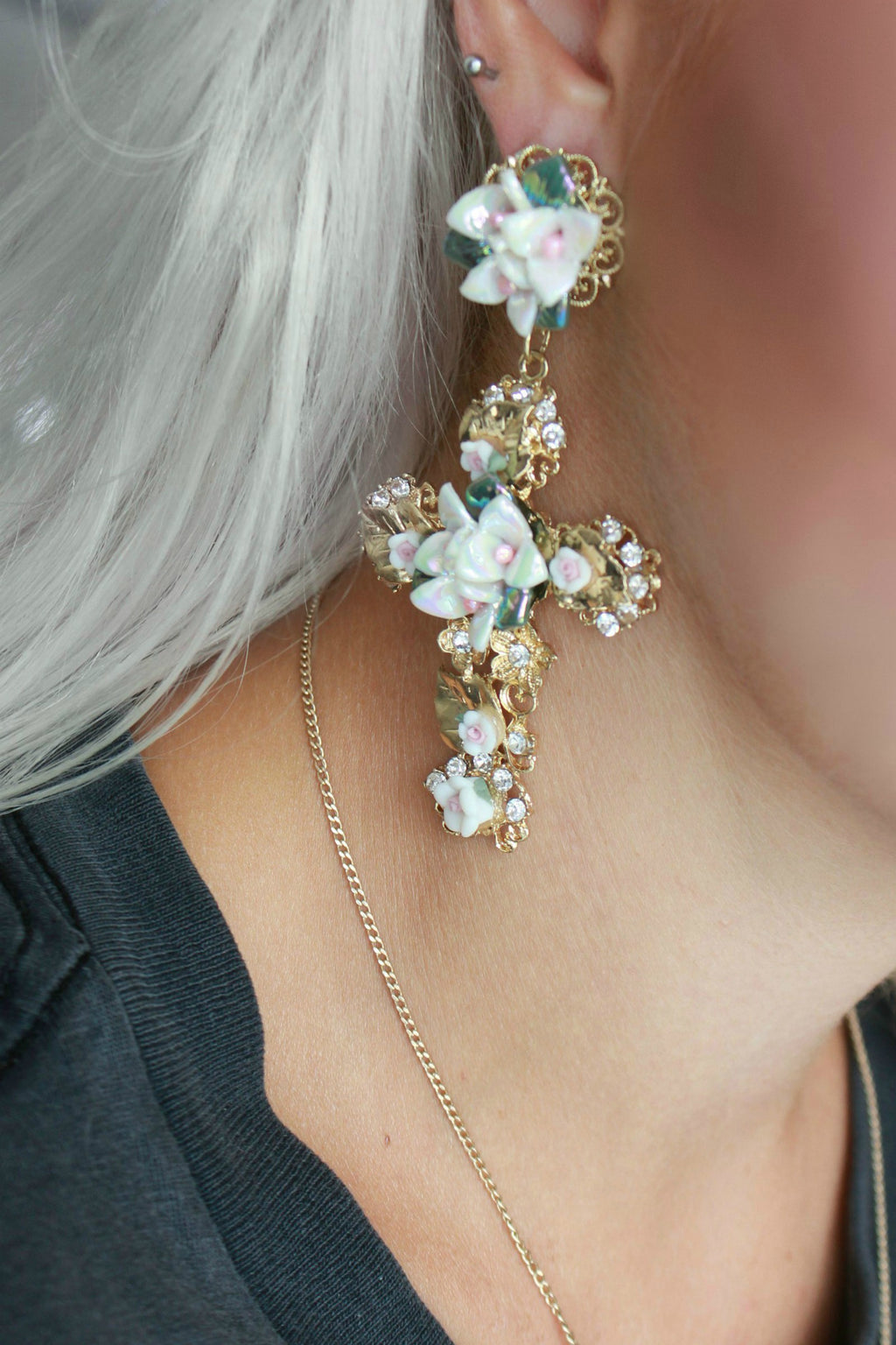 Statement Oversized Floral Catholic Cross Earrings
