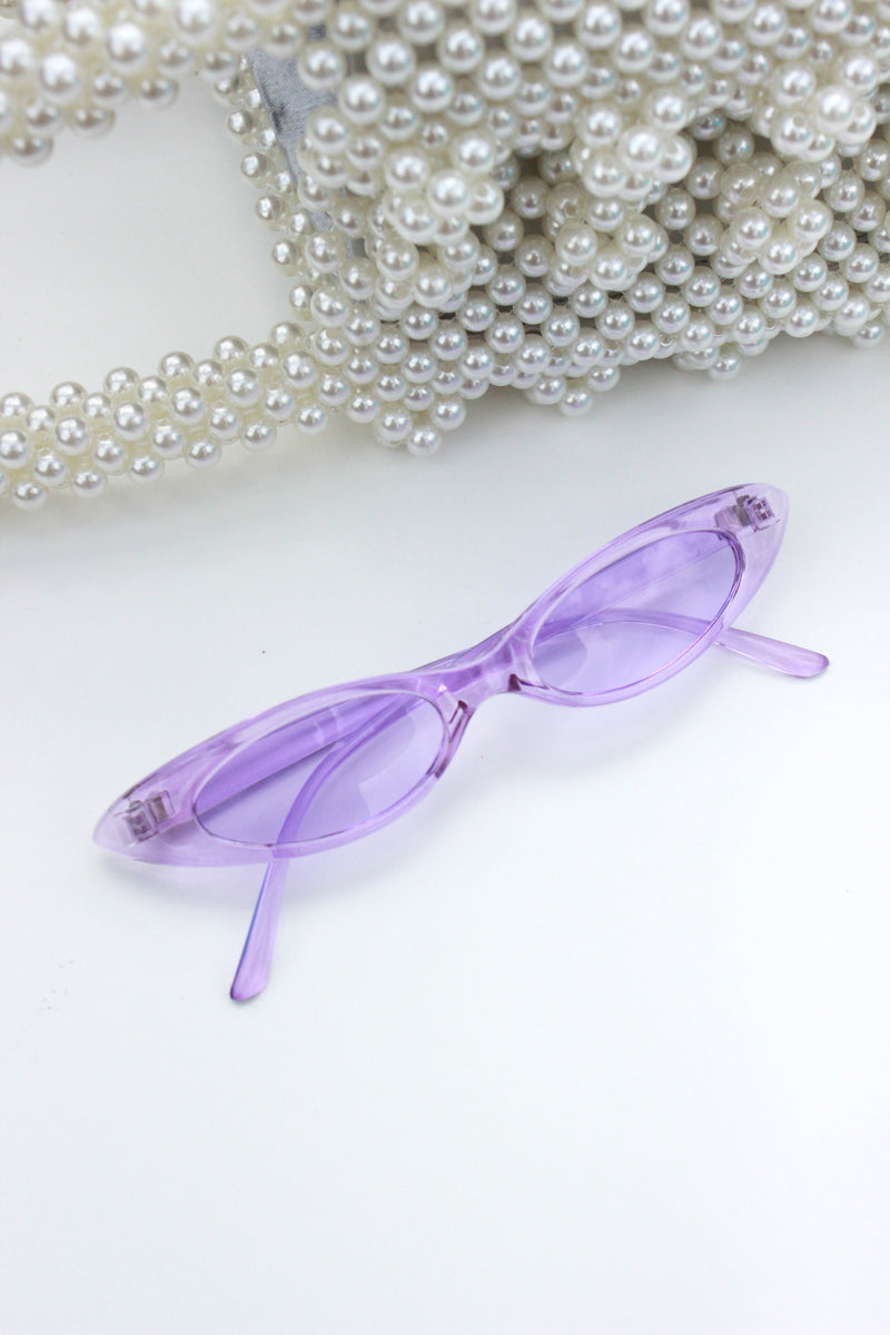 PURPLE CLEAR RIM ULTRA SLIM SUNGLASSES