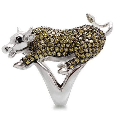 Rhodium Plated Bull Ring with Multi Color Cubic Zirconias