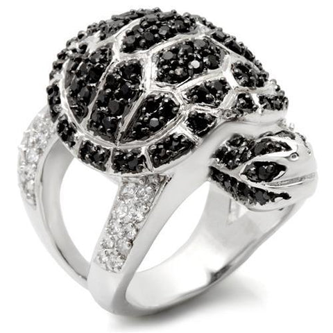 Rhodium Plated Turtle Ring with Top Grade Cubic Zirconias