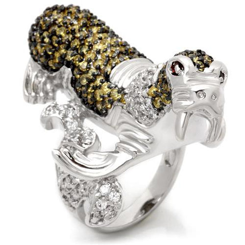 Rhodium Plated Walrus Ring with Top Grade Cubic Zirconias