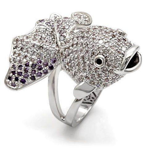Rhodium Plated Fish Ring with Top Grade Multi-Color Cubic Zirconias