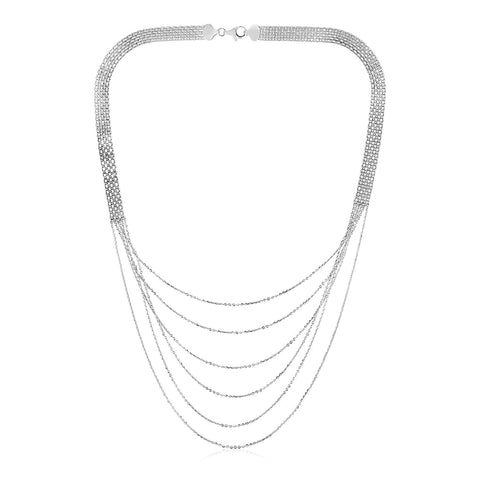 Sterling Silver 20 inch Six Strand Textured Chain Necklace