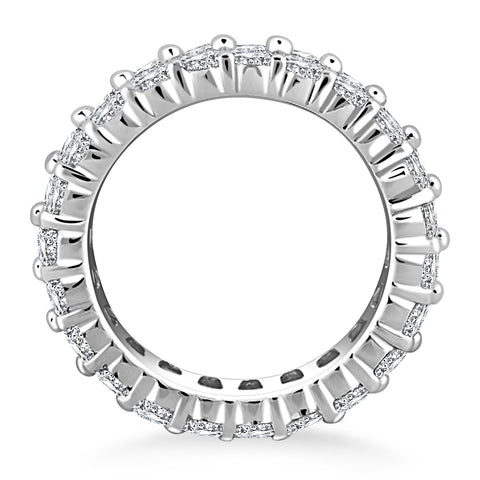 14k White Gold Double Band Round Diamond Eternity Ring