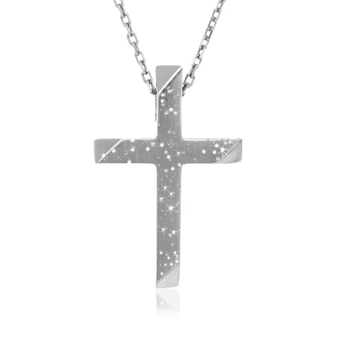 Sterling Silver Stardust Crucifix Pendant