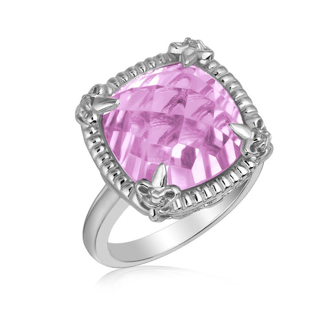 Sterling Silver Pink Amethyst with White Sapphires Fleur De Lis Ring
