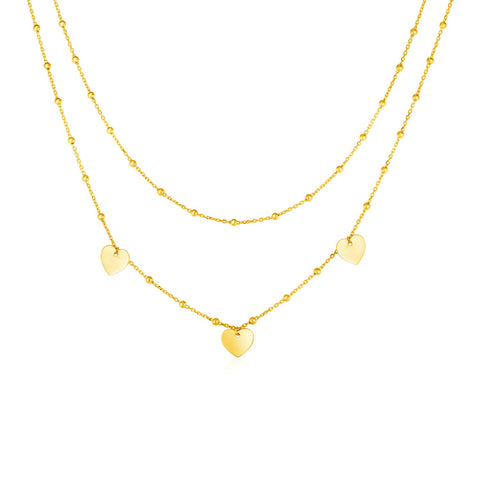 14k Yellow Gold Two Strand Necklace with Beads and Hearts