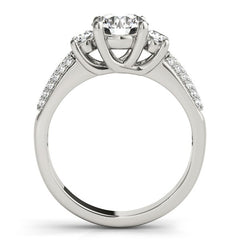 14k White Gold 3 Stone Pave Set Band Diamond Engagement Ring (1 7/8 cttw)