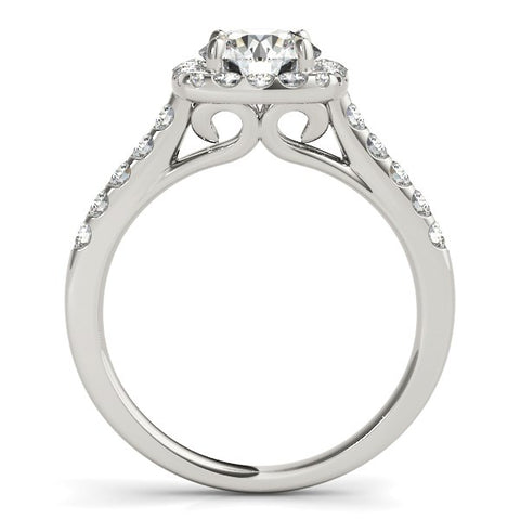 Square Shape Halo Diamond Engagement Ring in 14k White Gold (1 1/2 cttw)