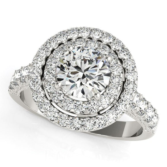 14k White Gold Diamond Engagement Ring with Double Pave Halo (2 5/8 cttw)