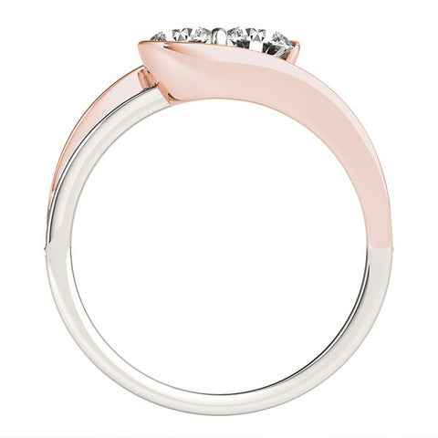 Two Stone Diamond Ring in 14k White And Rose Gold (3/4 cttw)