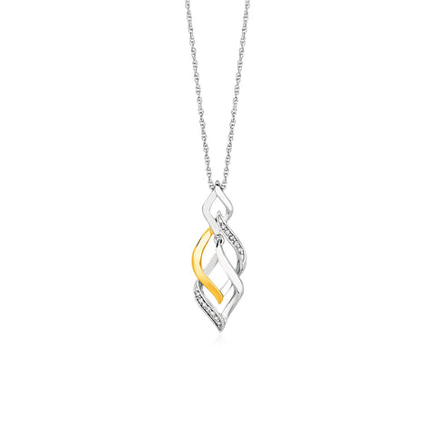 Two Toned Interlocking Twist Pendant with Diamonds in Sterling Silver