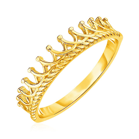14k Yellow Gold Crown Motif Ring