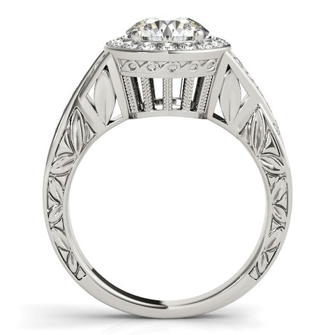 Halo Set Diamond Engagement Ring in 14k White Gold (1 5/8 cttw)