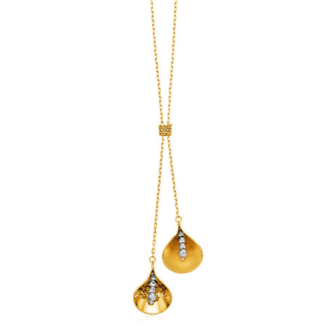14k Two Tone Gold Lariat Necklace with Flower Motifs