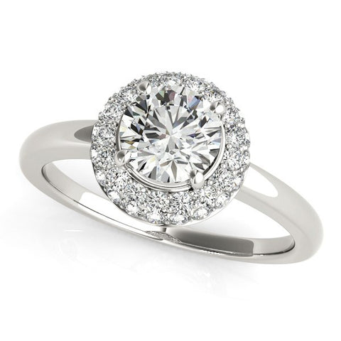 Diamond Engagement Ring with Pave Halo Stones in 14k White Gold (1 3/8 cttw)