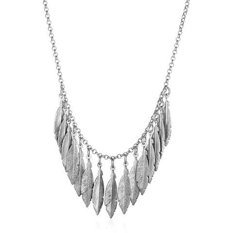 Necklace with Multiple Textured Leaf Drops in Sterling Silver