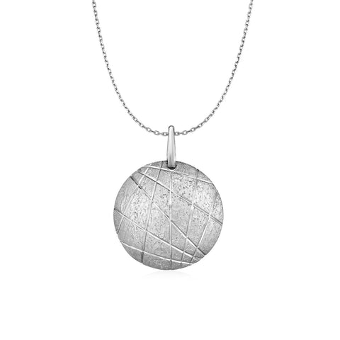 Textured Round Disc Pendant in Sterling Silver