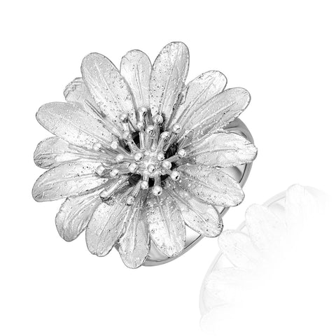 Sterling Silver Flower Ring with Sparkle Texture