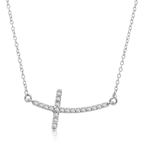 14k White Gold Diamond Embellished Cross Motif Necklace (.21cttw)