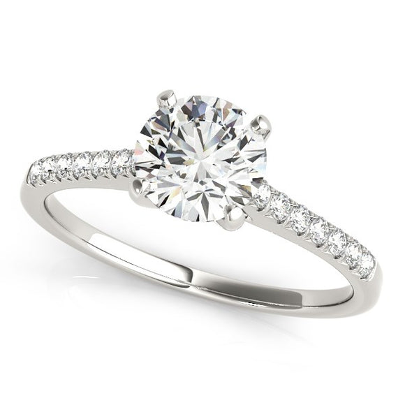 14k White Gold Single Row Scalloped Set Diamond Engagement Ring (1 1/8 cttw)