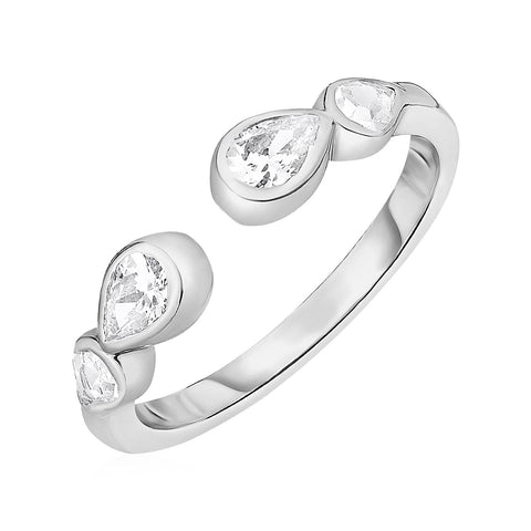 Toe Ring with Teardrops in Sterling Silver with Cubic Zirconia