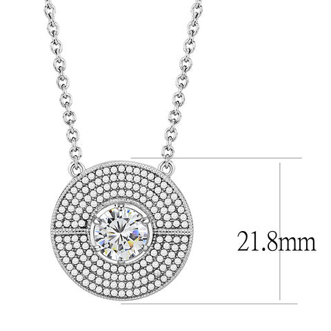 "16"" Stainless Steel Clear AAA Grade CZ Cubic Zirconia Disk Pendant Necklace"