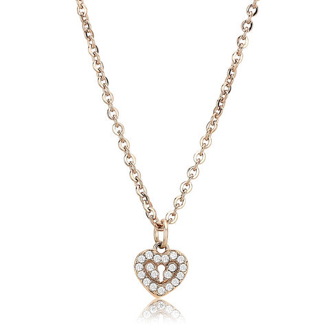 "18""+2"" Stainless Steel Rose Gold Clear AAA Grade CZ Heart Keyhole Pendant Necklace"