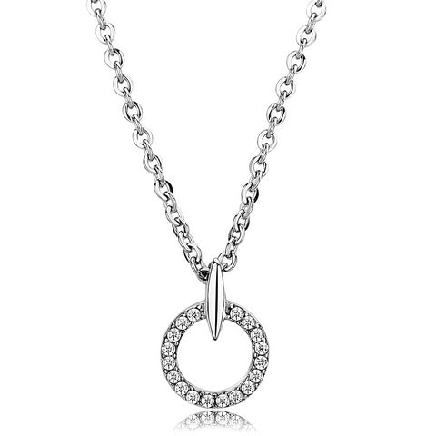 "18""+2"" Stainless Steel High Polished Clear AAA Grade CZ Round Pendant Necklace"