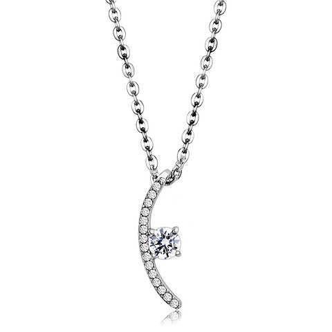 "18""+2"" Stainless Steel High Polished Clear AAA Grade CZ Pendant Necklace NL3"