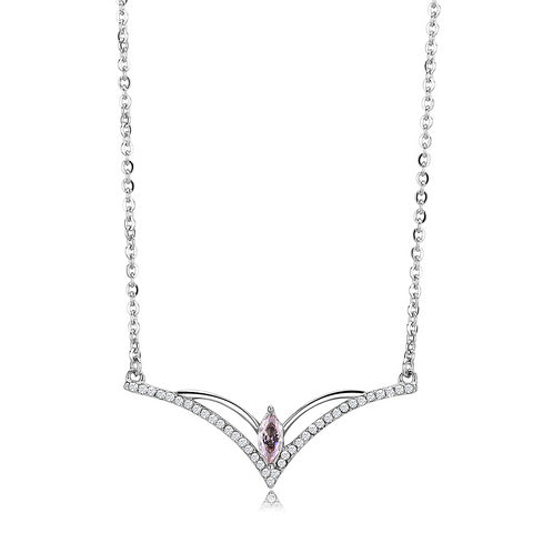 "18""+2"" Stainless Steel High Polished Light Rose AAA Grade CZ Chevron Pendant Necklace"
