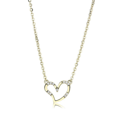 "19""+2"" Stainless Steel Gold Ion Plated Clear AAA Grade CZ Cubic Zirconia Heart Pendant Necklace"