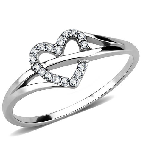 Stainless Steel Heart Ring with Top Grade Clear Cubic Zirconias