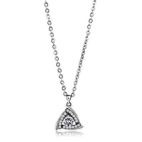 "16""+2"" Stainless Steel High Polished Clear AAA Grade CZ Cubic Zirconia Triangle Pendant Necklace"