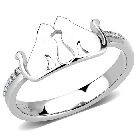 Stainless Steel Cats Kissing Ring with Top Grade Clear Cubic Zirconias
