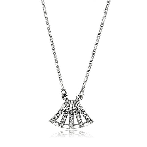 "16"" Stainless Steel High Polished Clear AAA Grade CZ Cubic Zirconia Unisex Pendant Necklace"