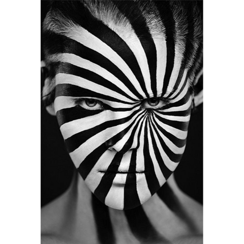Black and White Spiraled Woman