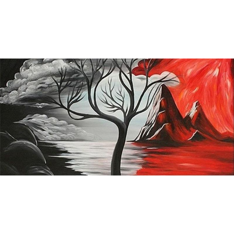 Image of Black Red Japanese Tree Art