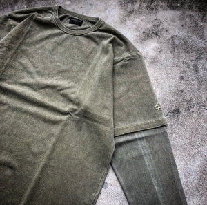 HANGEReering WASHED LAYER TEE LS -- OLIVE