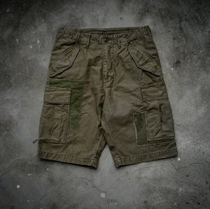HANGEReering DAMAGED CARGO SHORTS -- OLIVE